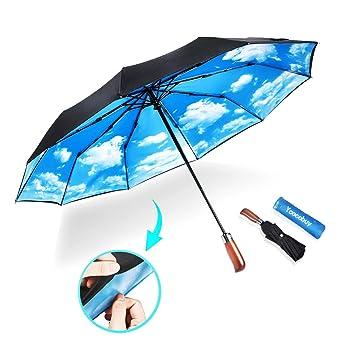 0e8f174e30d3 Ycocobuy 10 Ribs Umbrella,Large Travel Umbrella, Windproof Umbrella,  Compact Auto Open Close Umbrella with Double Layer Design, Sturdy UV  Protection ...