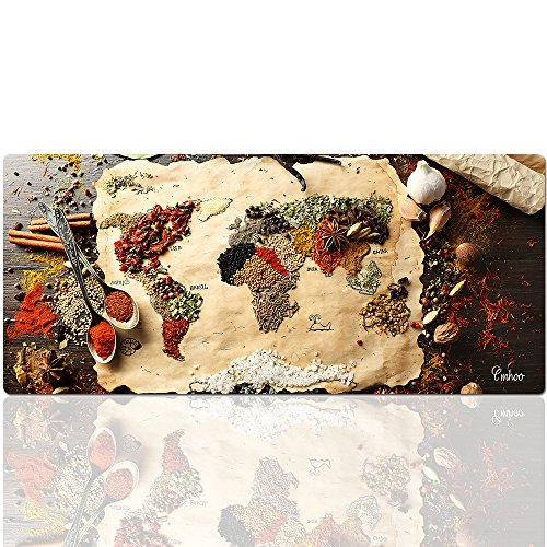 Cmhoo Desk Mouse Pad Extended XXL & Large Gaming Mat Protector Stickers 35.4 x 15.7 (90x40 Spices Map)