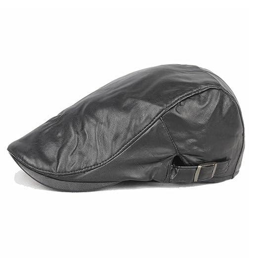 adf4be42548 King Star Men Flat Cap Cabby Hat PU Leather Vintage Newsboy Cap Ivy Driving  Cap Black