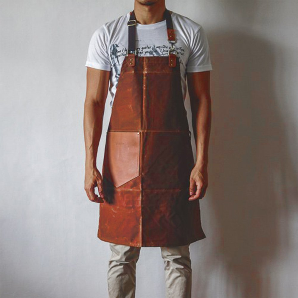 Handmade Waxed Canvas Apron with Leather Straps | Water Resistant Artisan Aprons by Gouache (Brick)