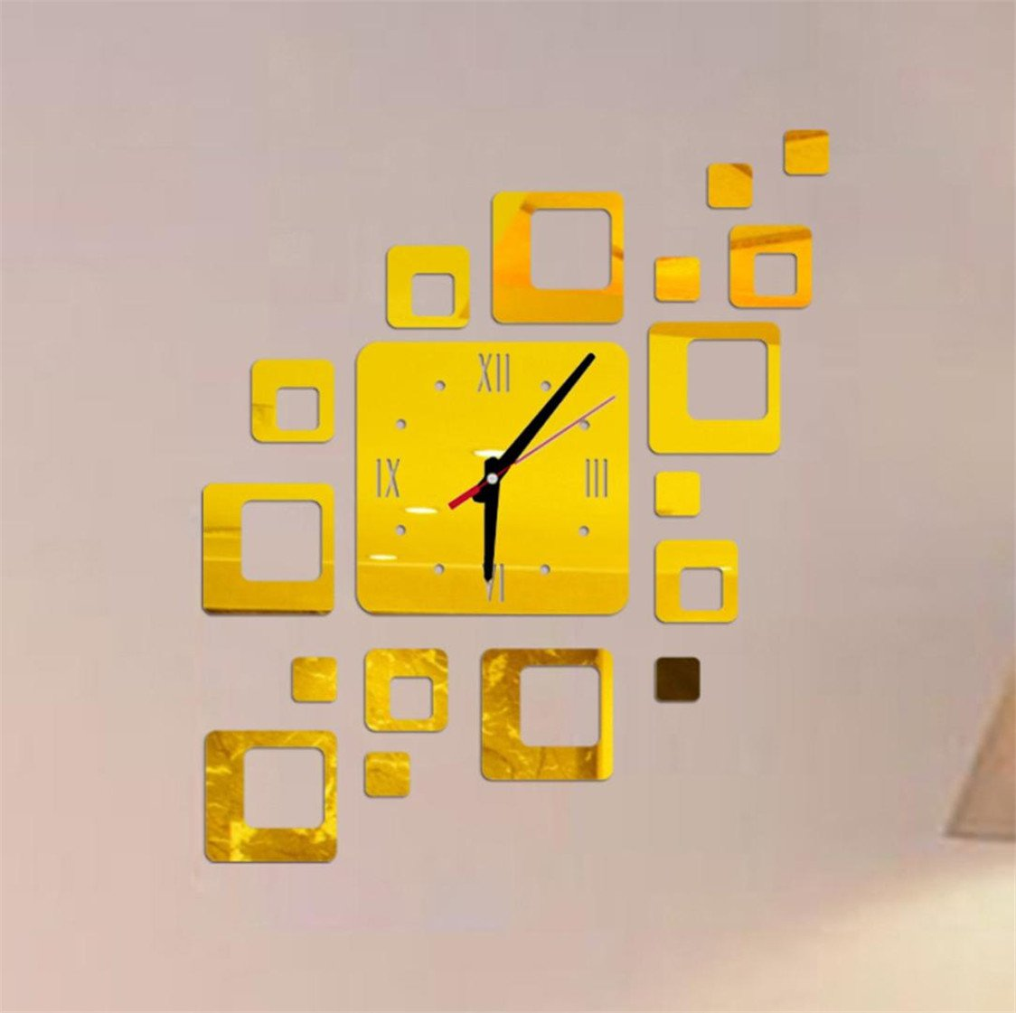 Amazon.com: TIFENNY Acrylic Mirror DIY Wall Sticker Clock, Living Room Bedroom Modern Watch Decor Wall-mounted Vinyl Wall Sticker (Gold): Home & Kitchen