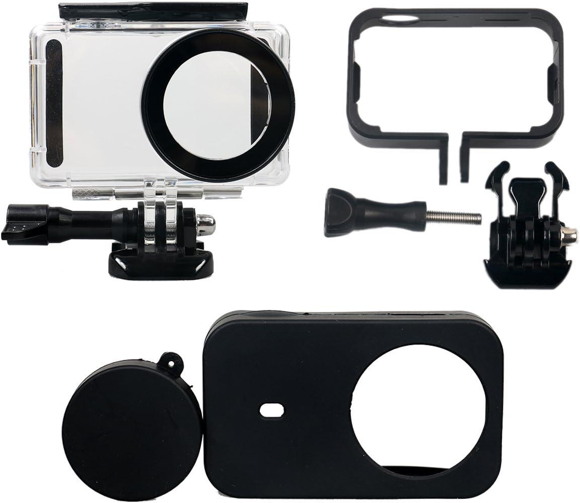 Flycoo Conjunto de 3 accesorios: Carcasa impermeable + marco + funda de silicona para la cámara de acción Xiaomi Mijia 4K Mini, transparente con tornillo de fijación y Base, color Negro