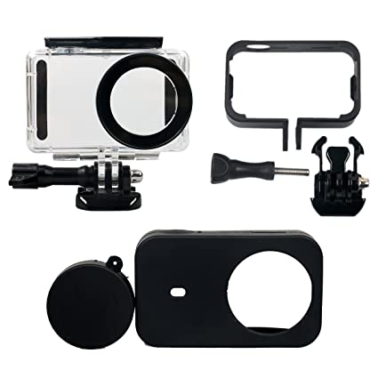 Flycoo Conjunto de 3 accesorios: Carcasa impermeable + marco + funda de silicona para la cámara de acción Xiaomi Mijia 4K Mini, transparente con ...
