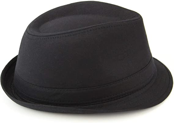 Hawkins plain cotton trilby hat black or white