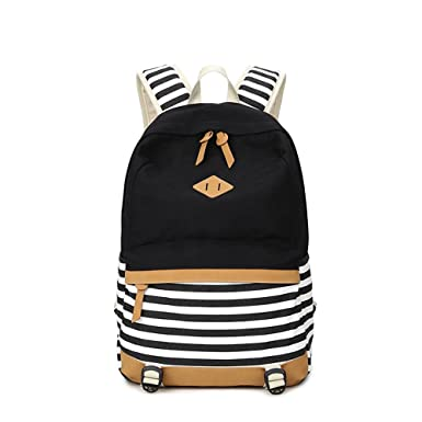 Stripes Casual Canvas Laptop Bag School Backpack Lightweight Backpacks for Teen Young Girls