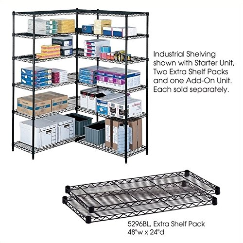 Safco Products 5296BL Industrial Wire Shelving Extra Shelf Pack 48