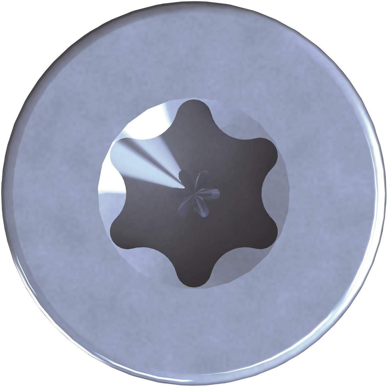 50 unidades, 8,0 x 140 mm, acero galvanizado, Torx TX40, con cabeza de disco, rosca parcial Tornillos para madera