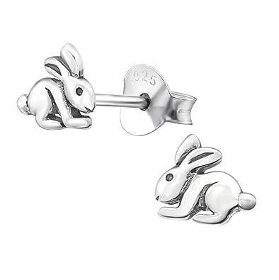 338756d4d Small Plain Sterling Silver Bunny Rabbit Earrings: Amazon.co.uk: Jewellery
