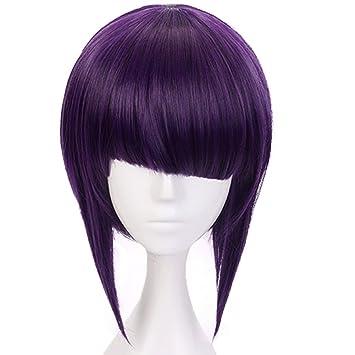 Amazon Com Anogol Hair Cap Purple Cosplay Wig Costume Synthetic