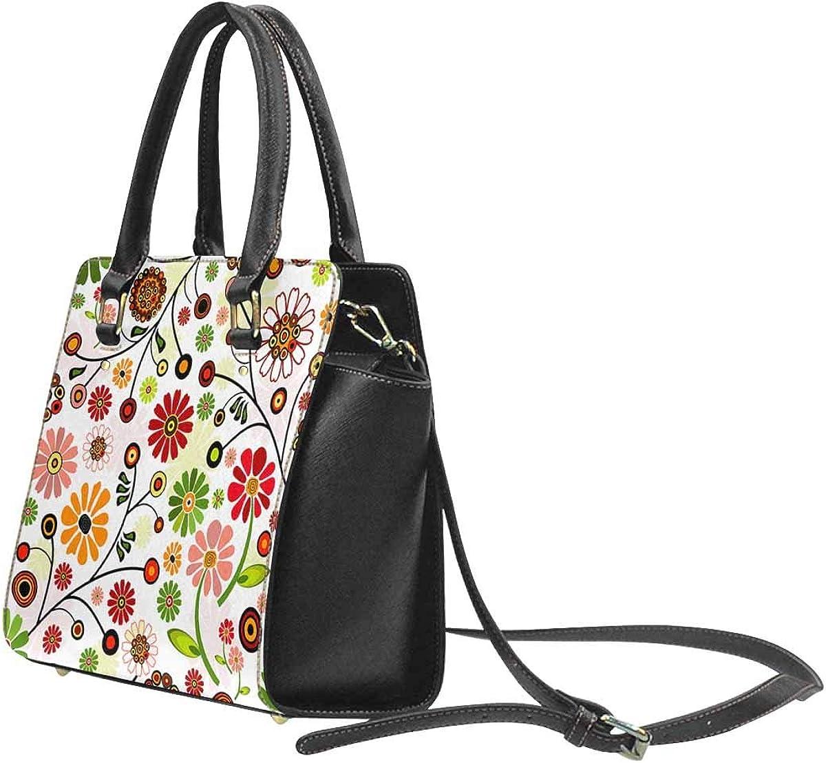 INTERESTPRINT Floral Vivid Pattern with Colorful Flowers Handbags Tote Bag Shoulder Bag Top Handle Satchel Purse