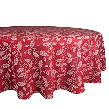 DII 70  Round Cotton Tablecloth, Holly Flourish - Perfect for Dinner Parties, Christmas, Holidays, or Everyday use