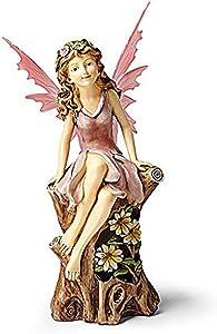 CT DISCOUNT STORE Elegant Solar Power Hand Painted Pink Flower Fairy Garden Decoration