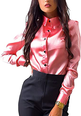 Blusas De Trabajo para Mujer Tops Camisas De Manga Larga ...