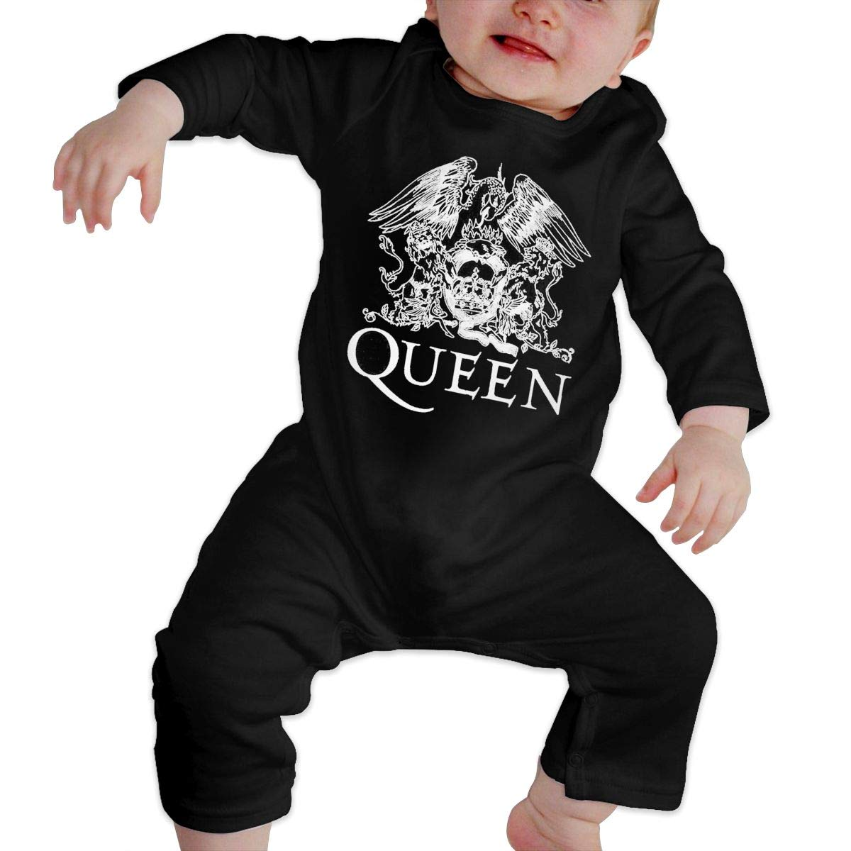 SOFIEYA Queen-Band Kids Baby Unisex Cotton Cute Long Sleeve Hooded Romper Jumpsuit Baby Crawler Clothes Black