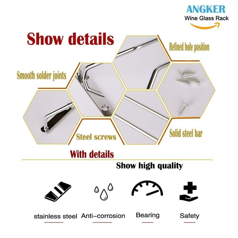 Single Rail Angker con copa de vino de cristal Copa colgadores de rack soporte con tornillos cristal accesorio de champ/án cristal accesorio de Copa de vino rack acero inoxidable