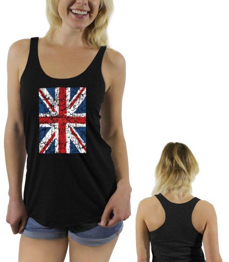 Awkwardstyles Women's Union Jack Flag Sayings Racerback Tank Tops + Bookmark 2XL Vintage Black