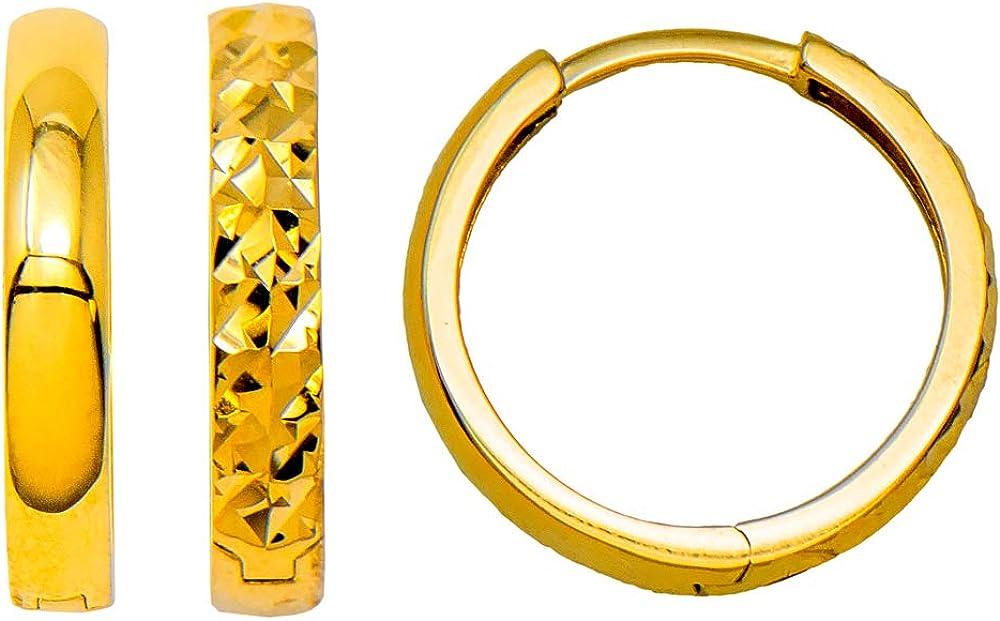 14k Yellow Gold Diamond-Cut Reversible Small Square-Tube Huggie Hoop Earrings, All Sizes