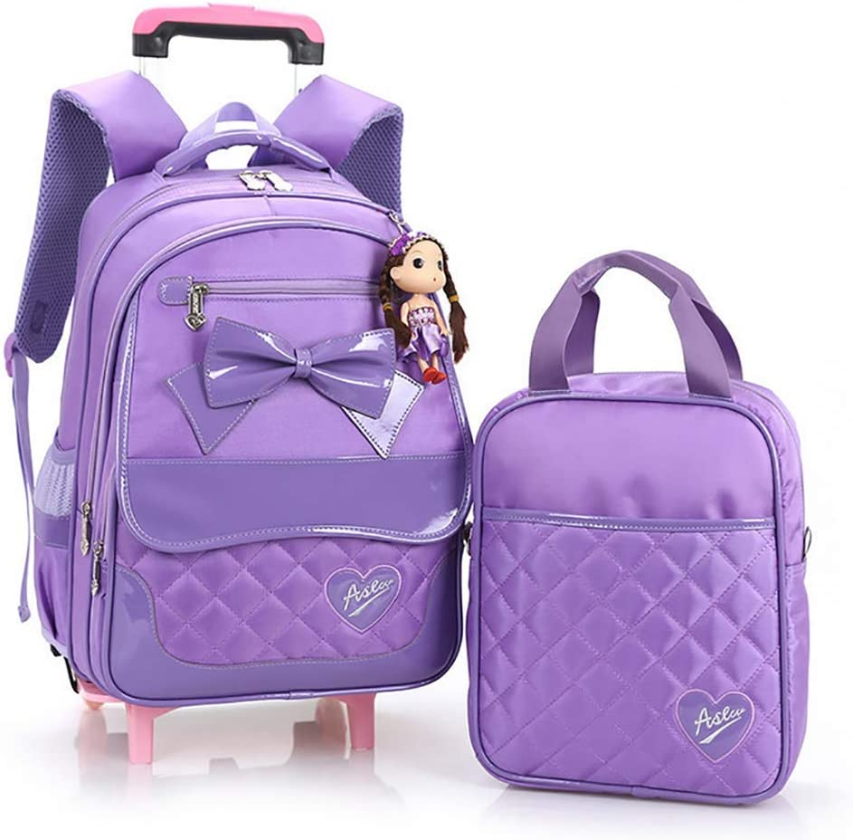QCC/& 2Pcs Rolling Backpack Cute Girls Waterproof Removable Trolley Backpack for School Travel with Lunch Bag 6-12 Year Old,C