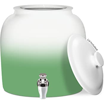 Brio Gradient Porcelain Ceramic Water Dispenser Crock with Faucet - LEAD FREE (Green)