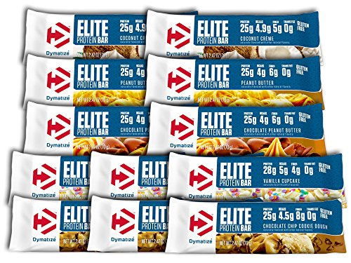 Dymatize Elite Protein Bar Variety - 3 - Chocolate Chip Cookie Dough, 3 - Vanilla Cupcake, 2 - Chocolate Peanut Butter, 2 - Peanut Butter, 2 - Coconut Cream