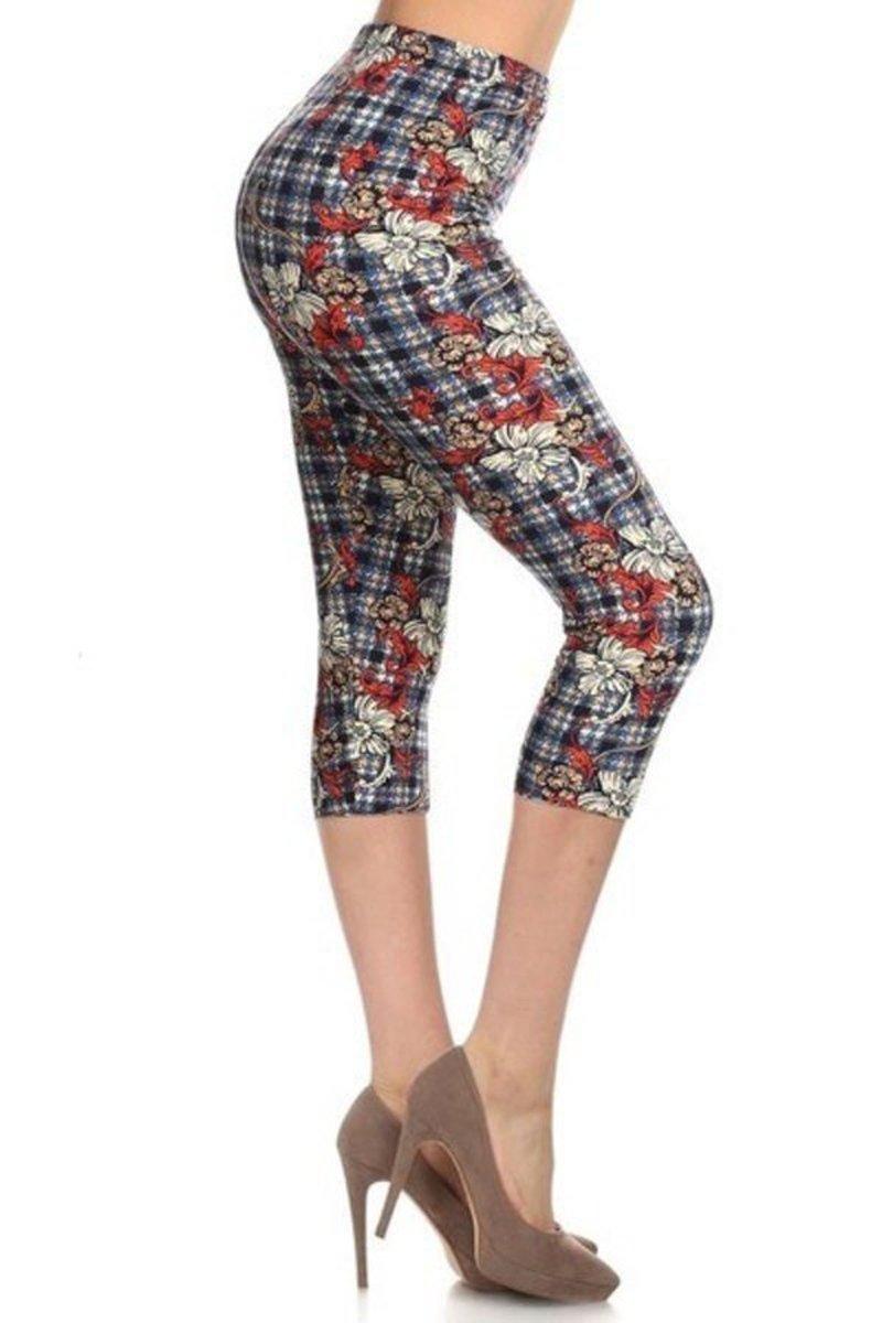 Leggings Depot Women's Plus Size High Waisted Capri Print Leggings (Plaids and Floral)