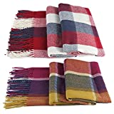 BLUBOON 2Pcs Plaid Blanket Scarf Shawl Wraps Winter Fall Classic Tassel Tartan Warm Infinity Scarves For Women Men
