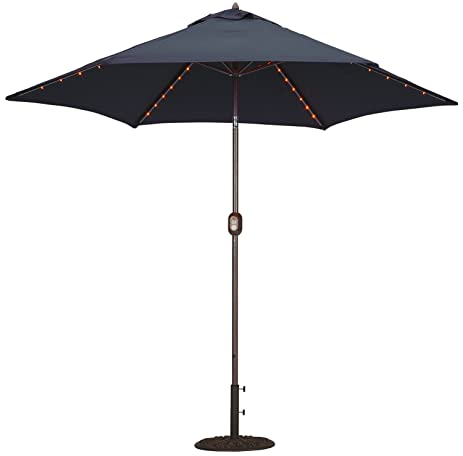 Tropishade Tropilight LED Lighted 9 Ft Bronze Aluminum Market Umbrella With  Navy Polyester Cover