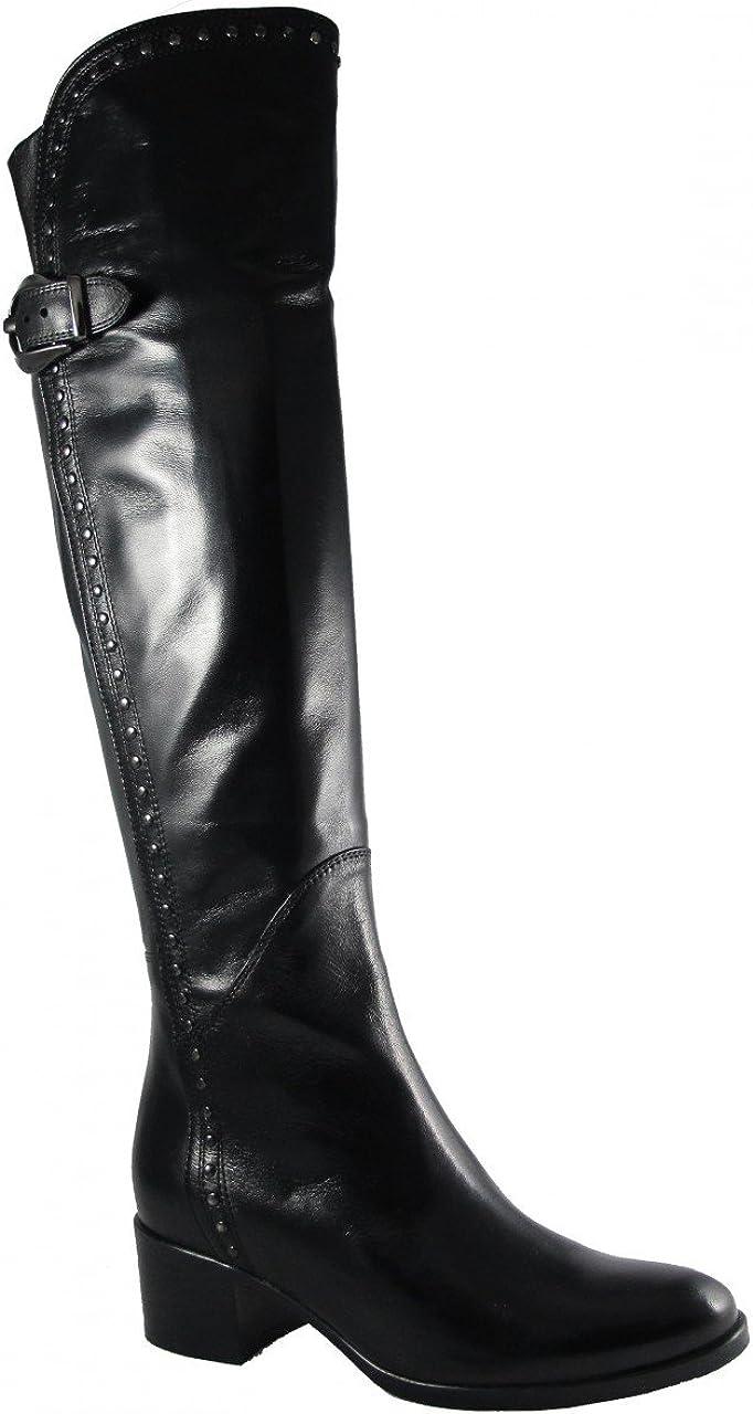 Knee Italian Leather Boots Black
