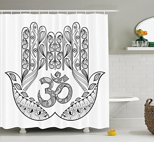 [Hamsa Decor Shower Curtain Set Praying Hands Floral Paisley Mandala Religious Patterns Ohm Sign Evil Eyes for Protection Bathroom Accessories Black] (Vintage Pin Up Girl Costume Ideas)