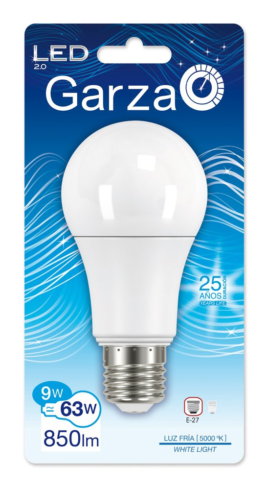 Garza Lighting - Bombilla LED Standard decorativa, potencia 9W, luz fría 5000K: Amazon.es: Iluminación