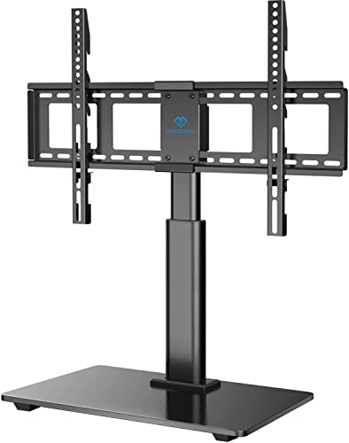PERLESMITH Swivel TV Stand Universal Table Top TV Base for 32 to 65 inch LCD LED OLED 4K Flat Screen TVs – Height Adjustable TV Mount Stand with Tempered Glass Base, VESA 600x400mm
