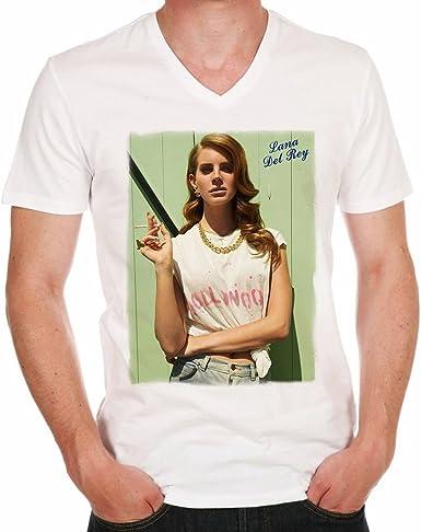 Lana Del Rey Pin-up style H Camiseta de algodón blanco para hombre: Amazon.es: Ropa y accesorios