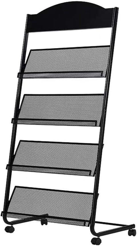 Magazine Holder Brochure Stand Magazine Rack, Detachable Information Stand with brochure, 4 Pockets Magazine Holder Rack, Black