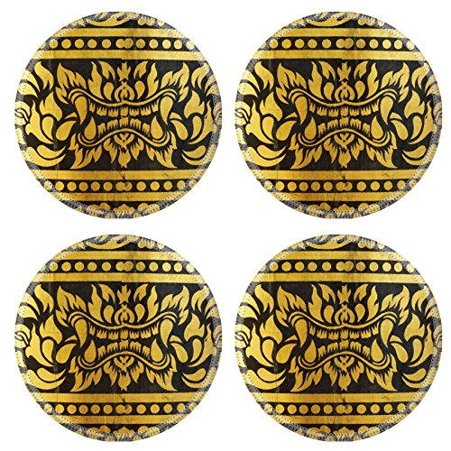 MSD Round Coasters Non-Slip Natural Rubber Desk Coasters design 28157760 detail of thai pattern that made by covered wood plate with gold leaf for (Thai Gold Plate)