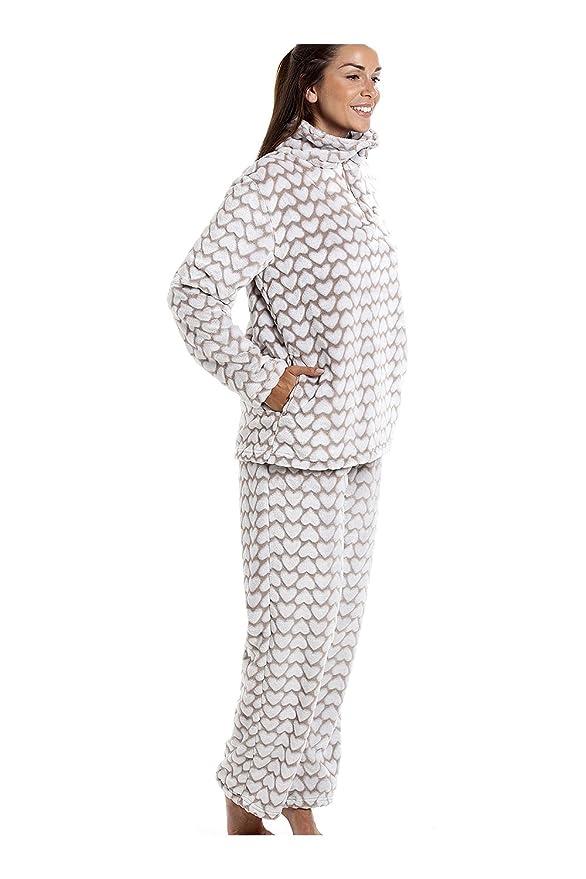 Conjunto de pijama - Forro polar suave - Estampado de corazones blancos - Marrón 38/40: Amazon.es: Ropa y accesorios
