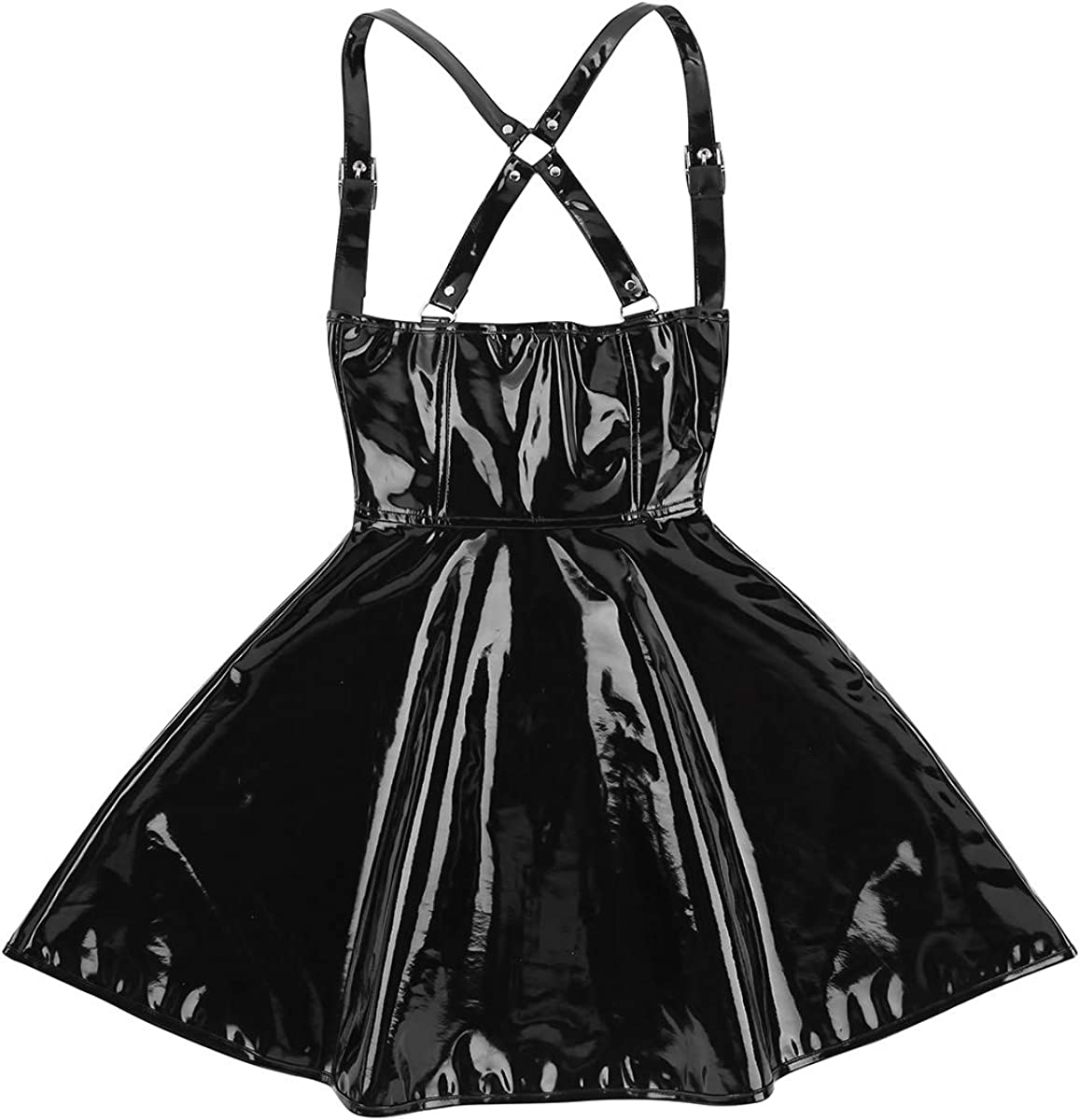 JEEYJOO Womens Wet Look Front Zipper X-Back Night Club Dress Suspender Skirt Clubwear