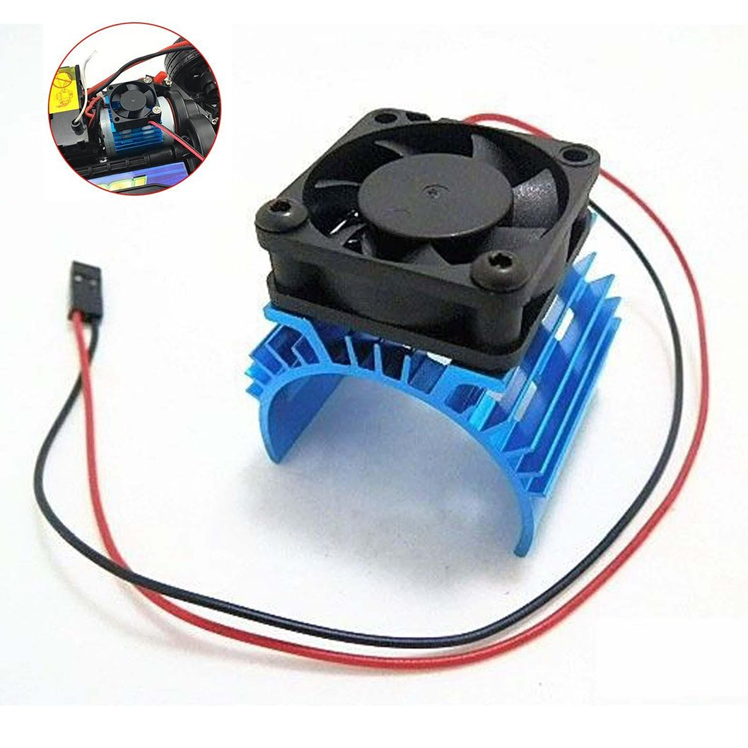 JFtech Aluminum Electric Motor Heat Sink Heatsink with 5V Cooling Fan for HSP Tamiya Traxxas RC 1/10 Car Truck 540 550 3650 Size Motor