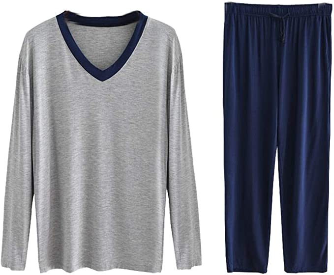 2 Piezas Pijama Hombre Largo Ropa de Dormir Algodon Modal Cuello ...