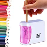 Pencil Sharpener Pink for Classroom Electric Pencil Sharpener to Prevent Accidental Opening,Battery Powered Electric Pencil S