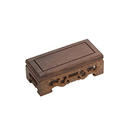 Luoluo Chinese Display Stand Rectangle Shape Carved Solid Rosewood Jichi Wood Wooden Small Display Base Holder For Arts Antique Etc Home Decoration