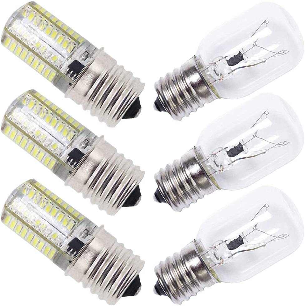 AMI PARTS 8206232A Bulb 40W 125V & E17 LED Bulb 4 Watt AC 110v Replacement Part for Whirlpool Microwave Oven (Piece of 3 Each)