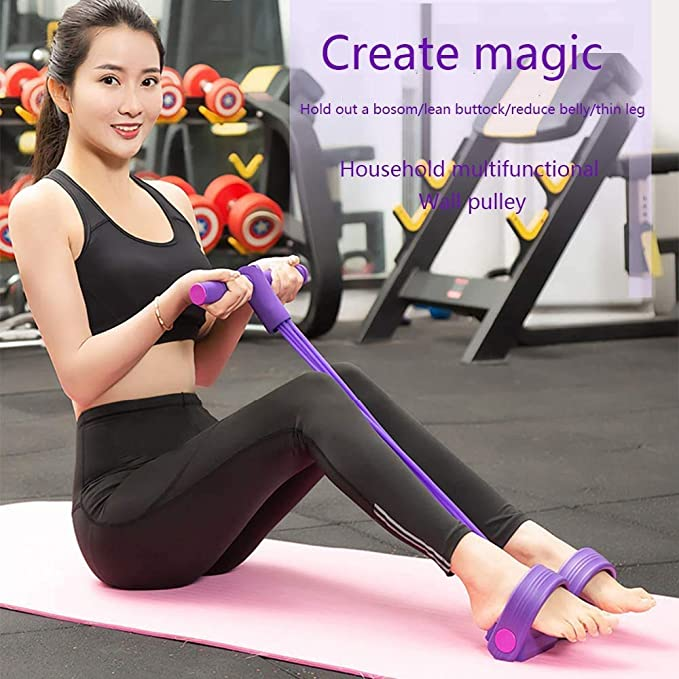 Multi-Function Tension Rope Resistance Pull Band Foot Pedal Ab Exerciser 4 Ropes