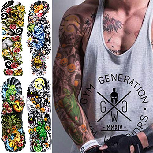 Oottati 4 Sheets Full Arm Leg Extra Large Temporary Tattoos, Body Art for Men and Women A -
