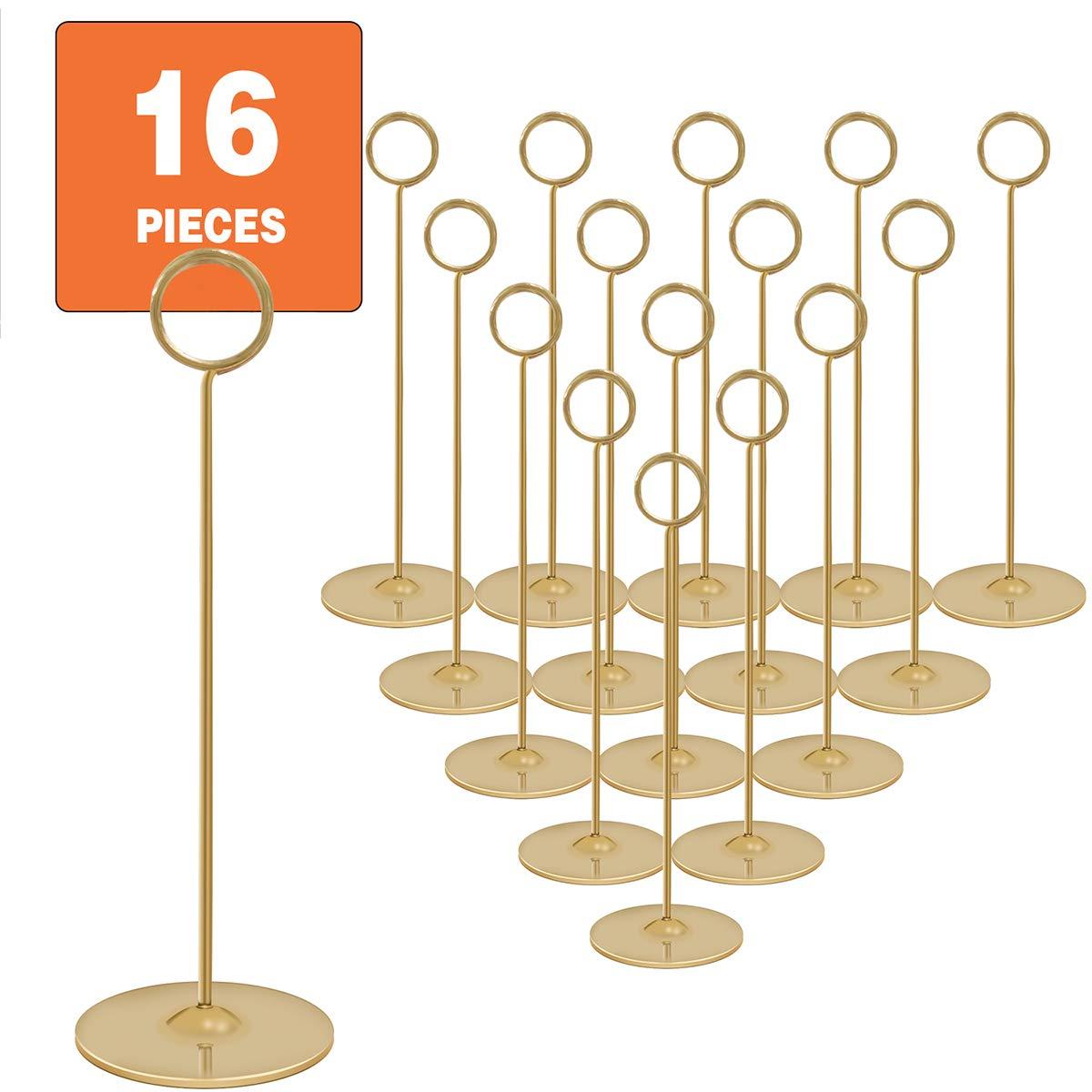 Place Card Holder Table Number Holder Wedding Card Holder 12 inch Set of 16 For Restaurants Weddings Banquets (12''gold place card holder)
