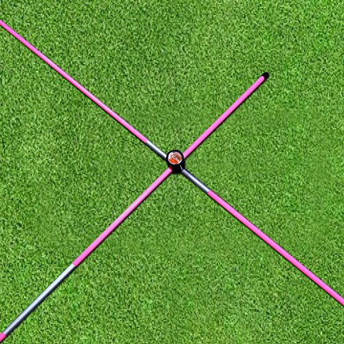 Golf Alignment Training Aids - Elixir Golf (2) Sticks + (2) Cross Connectors, The Practice Training Aids Trainer Alignment Sticks in Carrying Tube, Pink