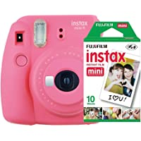 Câmera Instantânea Mini 9 + Pack 10 Fotos, Fujifilm, Instaxkit21F, Rosa Flamingo