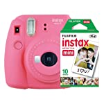 Kit Câmera Instantânea Instax Mini 9 Rosa Flamingo + Filme Instax Mini 10 fotos, Fujifilm