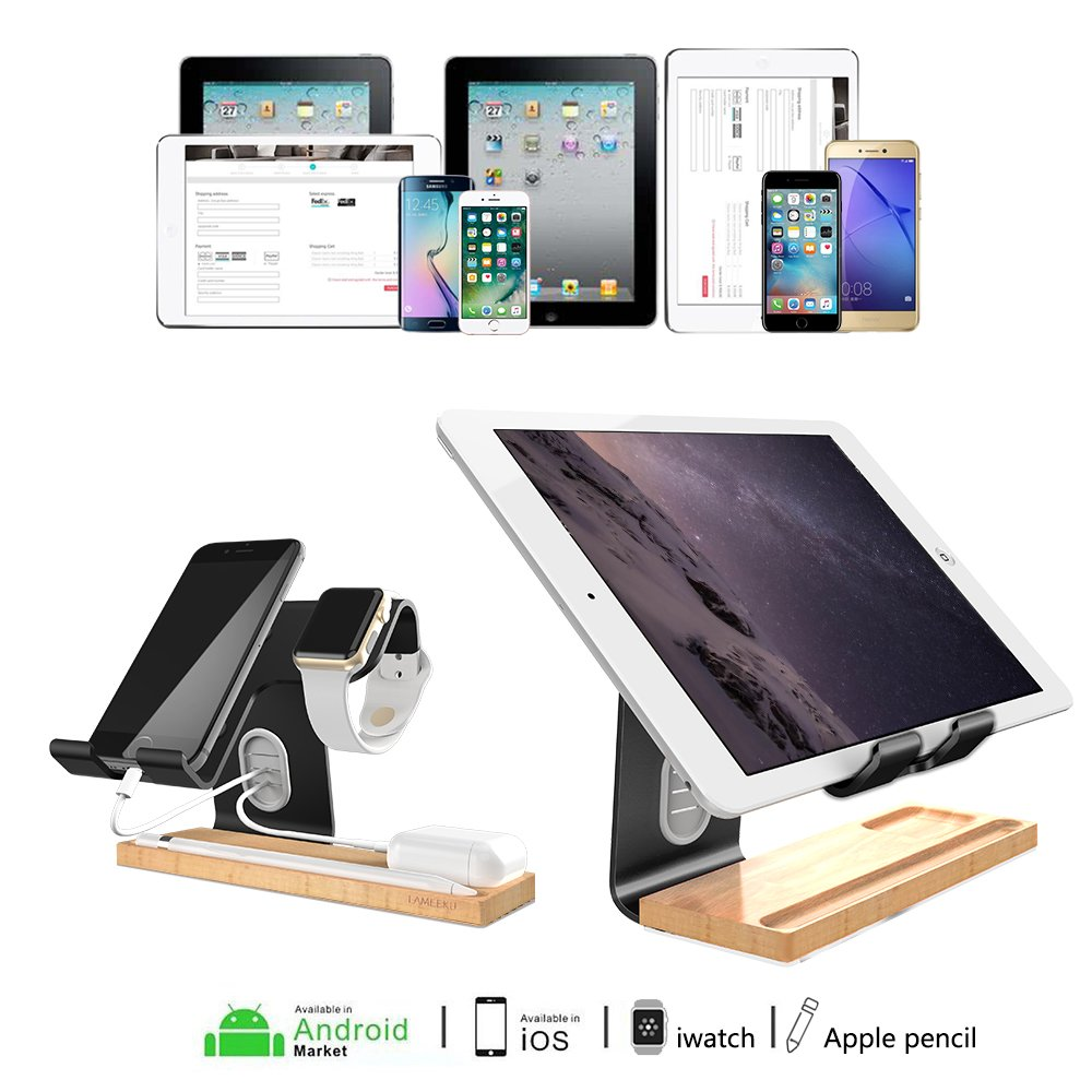 LAMEEKU Compatible Cell Phone Stand Replacement for Apple Watch Stand, Desktop Cell Phone Stand For all Android Smartphone, iPhone X 6 6s 7 8 Plus, Samsung, Apple Watch 38mm 42mm, iPad Airpods - Black by LAMEEKU (Image #9)
