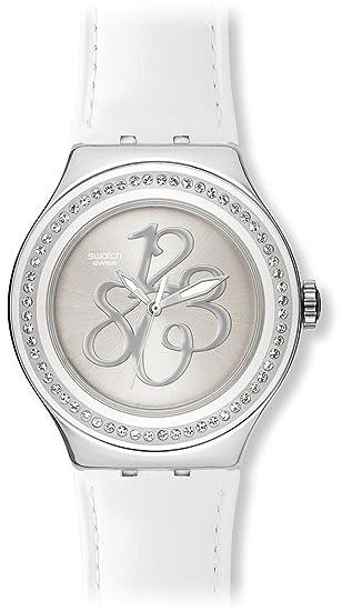 Swatch IRONY Nabab - Reloj de mujer de cuarzo, correa de piel color blanco: Swatch: Amazon.es: Relojes