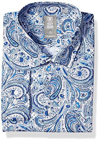 STACY ADAMS Men's Contemporary Modern Fit Dress Shirt, Blue Tonal Paisley, 17.5